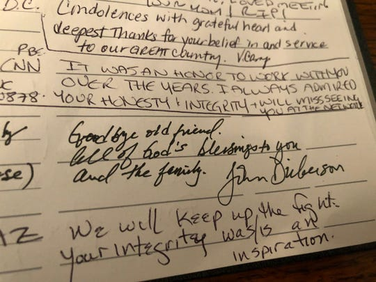 "John McCain's visitor's log is filled with heart-filled messages. One begins with ""Goodbye old friend."""