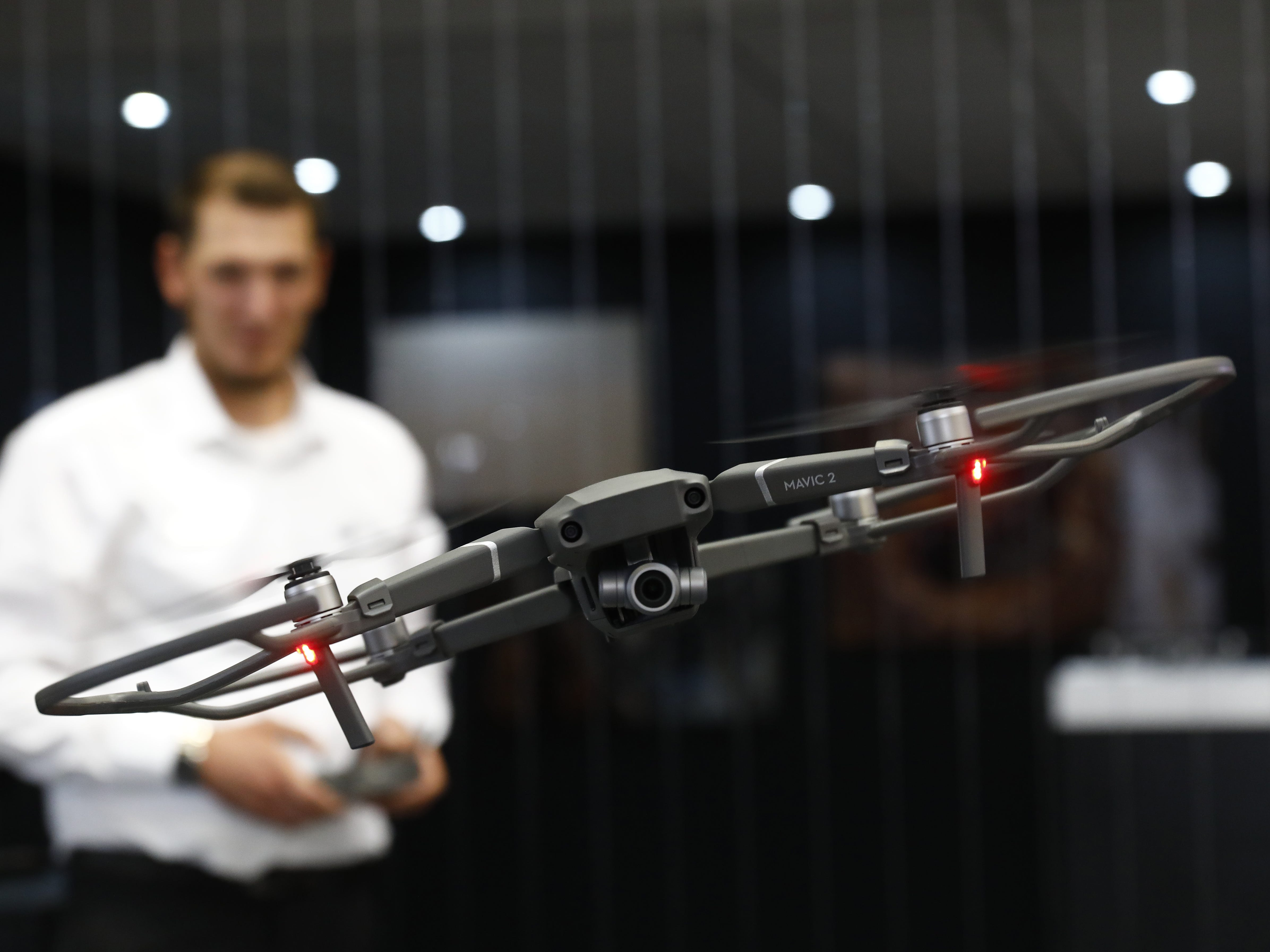 BERLIN, GERMANY - AUGUST 30: A DJI Mavic 2 Drone is shown at the 2018 IFA consumer electronics and home appliances trade fair during the fair's press day on August 30, 2018 in Berlin, Germany. IFA, Europe's biggest tech trade fair, will be open to the public from August 31 through September 5. (Photo by Michele Tantussi/Getty Images) ORG XMIT: 775217025 ORIG FILE ID: 1025253874