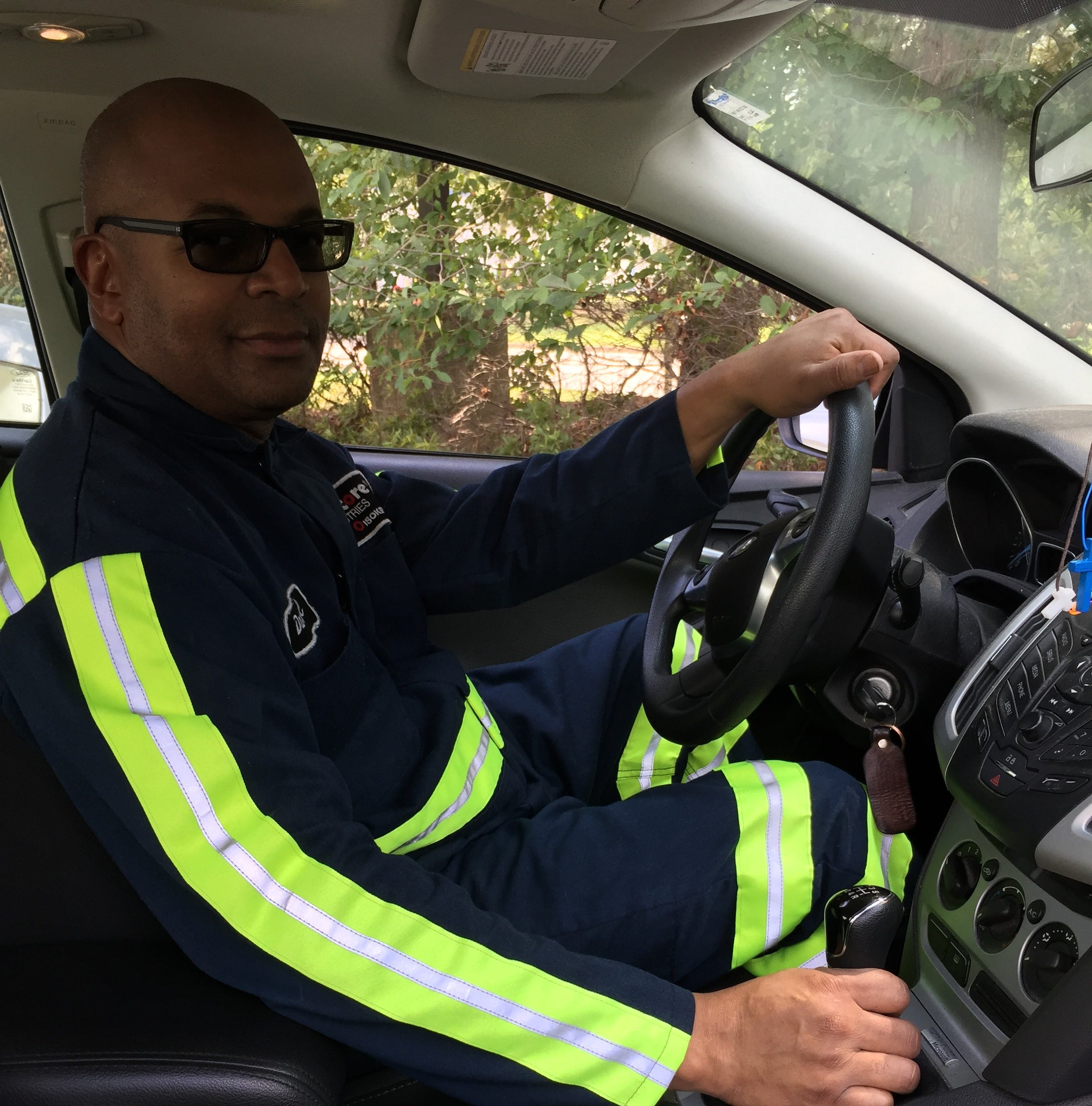 Darryl Hayden of Hampton, Virginia, rides in his manual-transmission 2014 Ford Focus. Hayden remains a fan of stick-shift vehicles, which are falling in popularity.