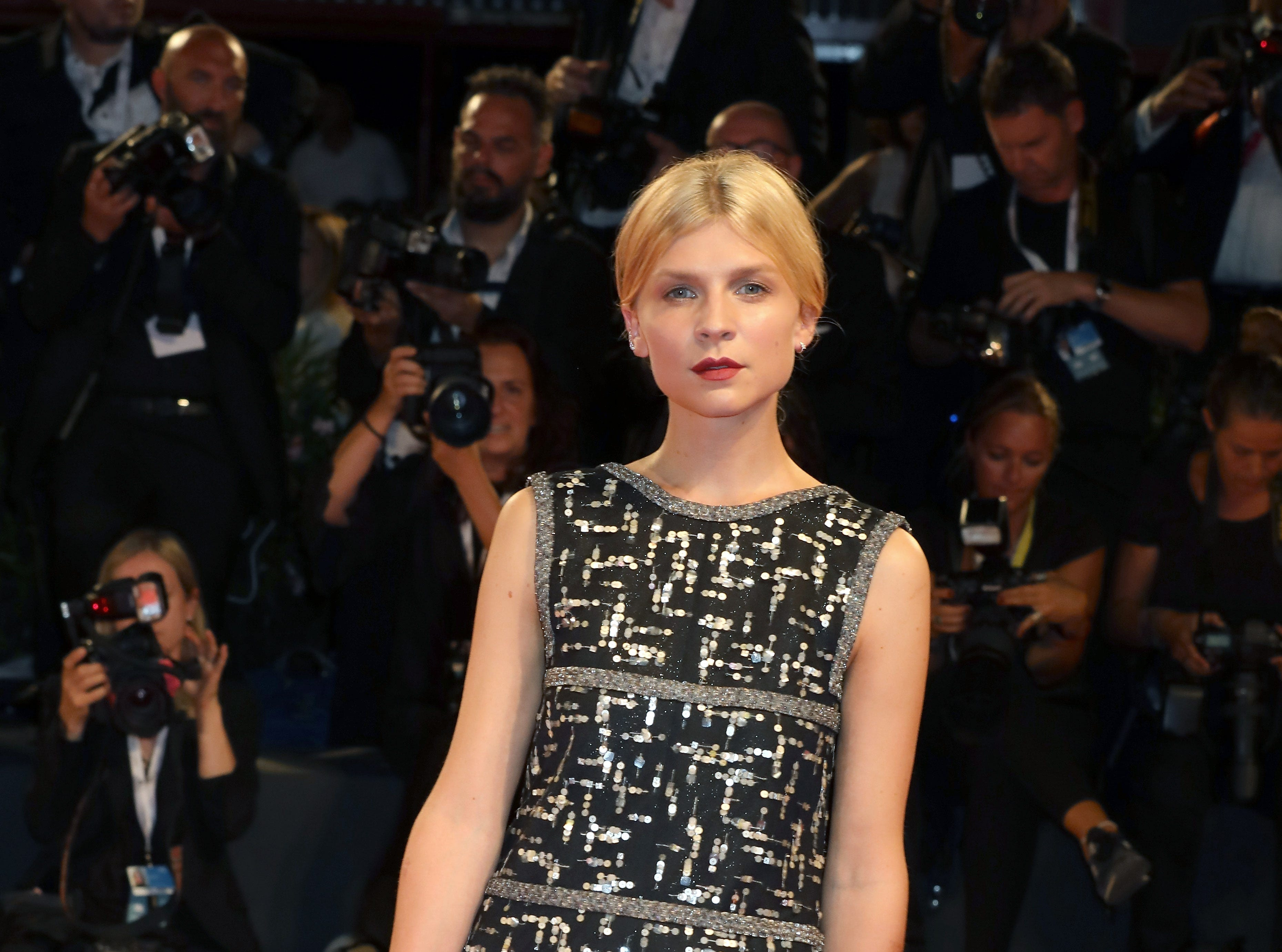 Clemence Poesy walks the red carpet ahead of the 'The Favourite' screening during the 75th Venice Film Festival at Sala Grande on August 30, 2018 in Venice, Italy.