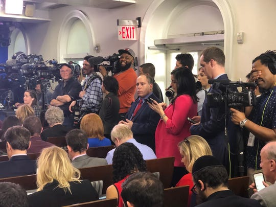 Ronica Cleary, standing, while pregnant in the White House James S. Brady Press Briefing Room, Washington, D.C. February 20, 2018