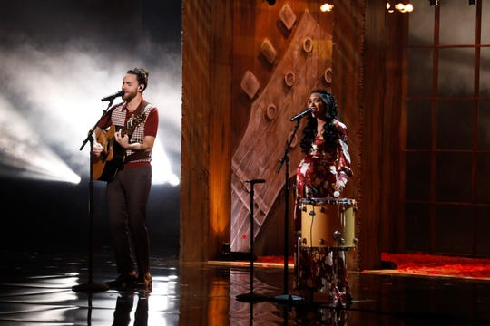 """Singing couple Us The Duo performed on """"America's Got Talent"""" Tuesday and won a ticket to the semifinals during Wednesday's results show."""