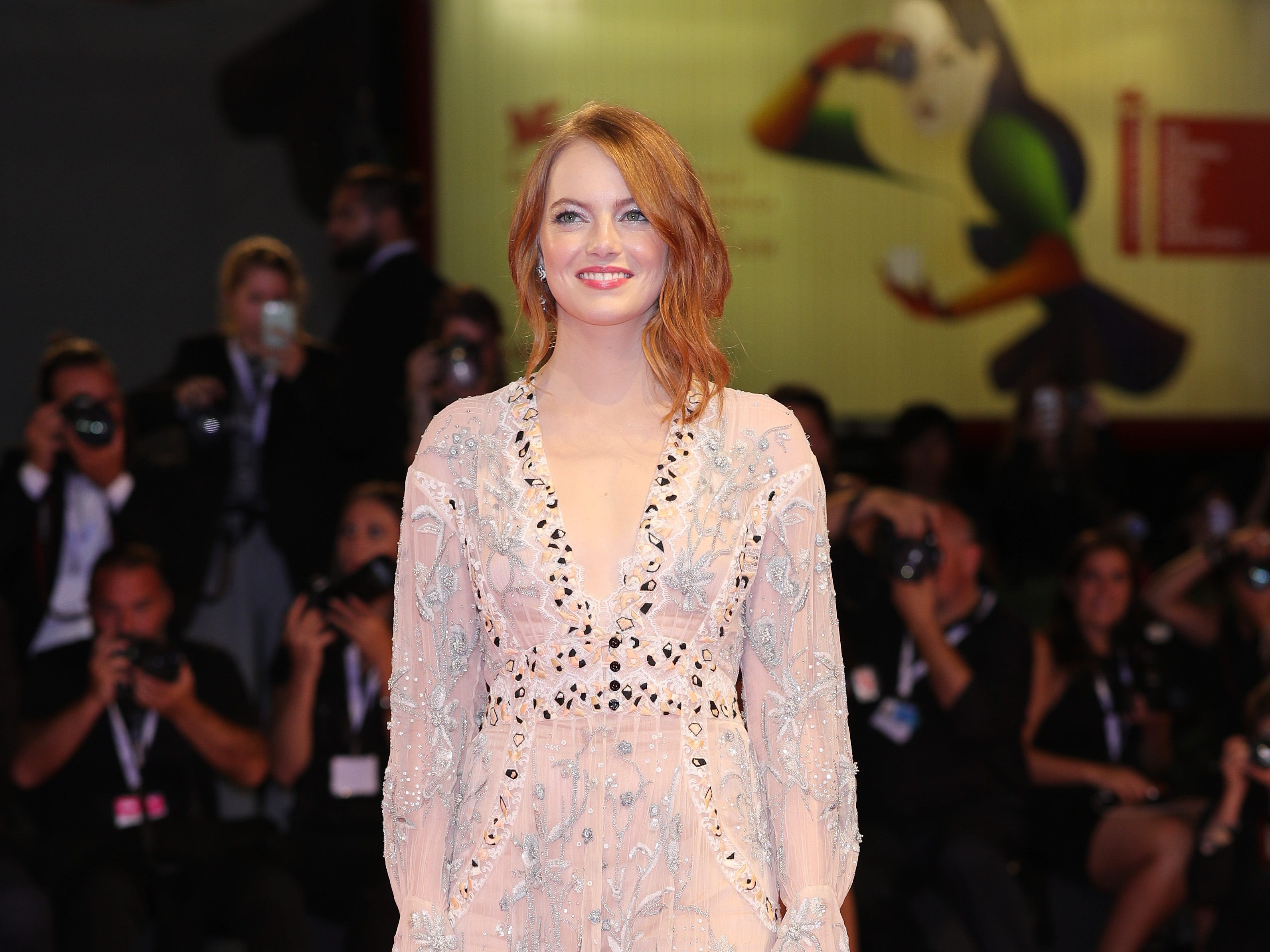 Emma Stone walks the red carpet ahead of the 'The Favourite' screening during the 75th Venice Film Festival at Sala Grande on August 30, 2018 in Venice, Italy.
