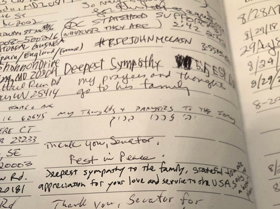 John McCain's visitor's log is filled with heart-filled messages.