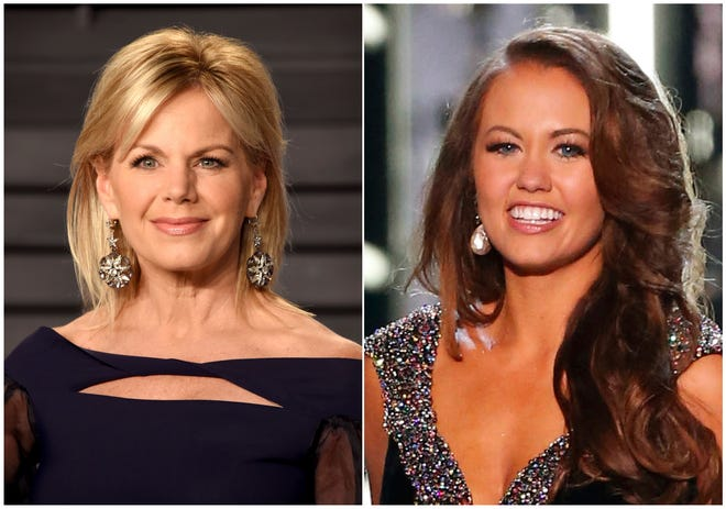 Miss America chairwoman Gretchen Carlson at the Vanity Fair Oscar Party in Beverly Hills, Calif., on March 4, 2018, and reigning Miss America Cara Mund competing at the Miss America 2018 pageant, in Atlantic City, N.J. on Sept. 10, 2017.