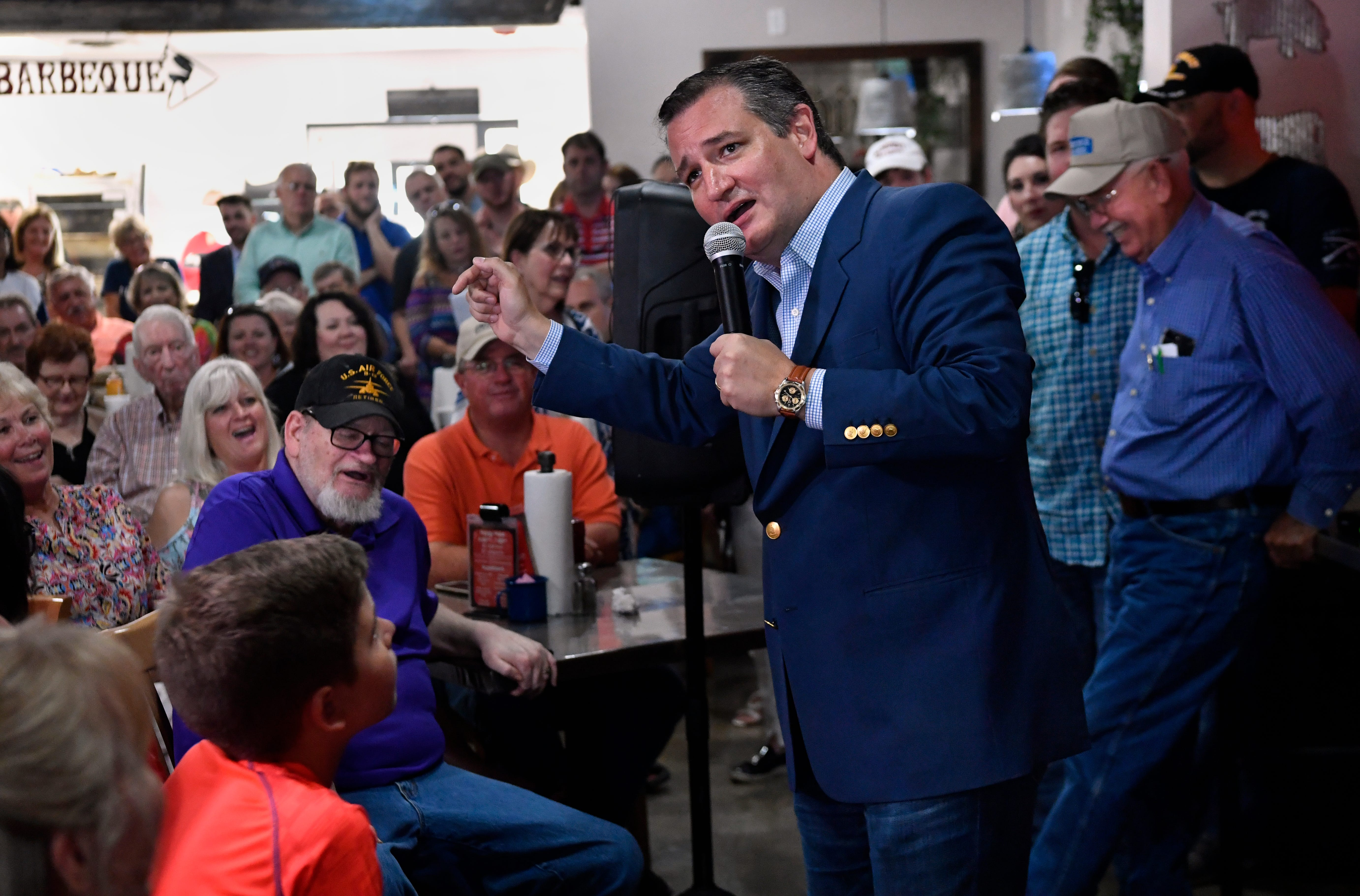 Audience members laugh as U.S. Senator Ted Cruz makes joke about the Democratic Party during an Abilene campaign stop Thursday August 30, 2018. The event at the Betty Rose's Little Brisket Catclaw Dr. location was the senator's first public campaign event in Abilene for the 2018 election.