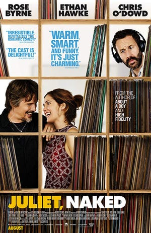 """The poster for the romantic dramedy """"Juliet, Naked,"""" based on the novel by Nick Hornby."""