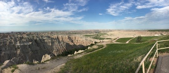 Brad Campbell and his group with American by Bicycle road across the Badlands of South Dakota.