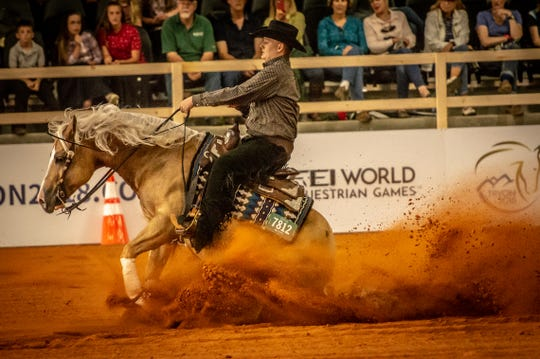 Cade McCutcheon, 18, of Aubrey, Texas, is seen here competing earlier this year during the Test Events in reining at the Tryon International Equestrian Center. McCutcheon is expected to compete in reining at the FEI World Equestrian Games.