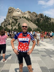 One of the highlights of Brad Campbell's cross-country bike trip was a visit to Mount Rushmore in South Dakota.