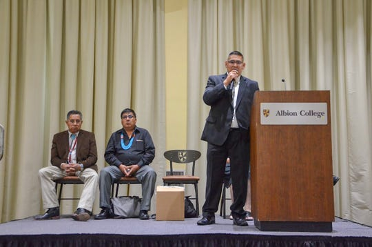 Zuni Tribal Councilman Carleton Bowekaty speaks to a crowd at Albion College on Thursday, Aug. 30, 2018. He and two Zuni cultural practitioners, Nelson Vicenti and Octavius Seowtewa, were visiting Albion College to retrieve a Zuni artifact.