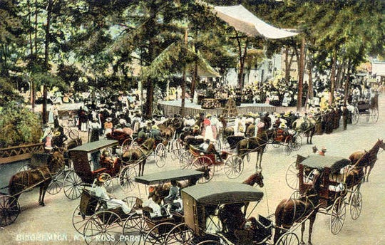 Residents throng to Ross Park in this postcard from about 1900.