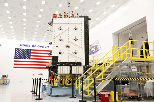 The Air Force's GPS III Satellite Vehicle 01, the first next-generation model of the series, is seen at Lockheed Martin's assembly facility in Waterton, Colorado.