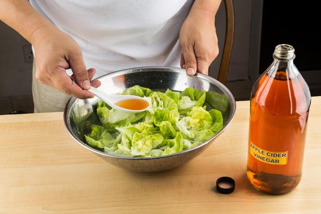 Apple Cider Vinegar may not have the health benefits many believe, but when mixed with extra virgin olive oil, it makes for a healthier salad dressing.