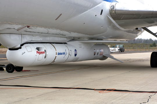 Northrop Grumman's L-1011 Stargazer aircraft shown at Vandenberg Air Force Base in California on June 6 with a Pegasus XL rocket carrying NASA's Ionospheric Connection Explorer mission. The mission has been relocated from Kwajalein Atoll to Cape Canaveral, targeting an Oct. 6 liftoff.