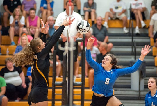 Colonel Crawford's Hannah Plesac blocks a hit by Wynford's Adrienne Whitmeyer.