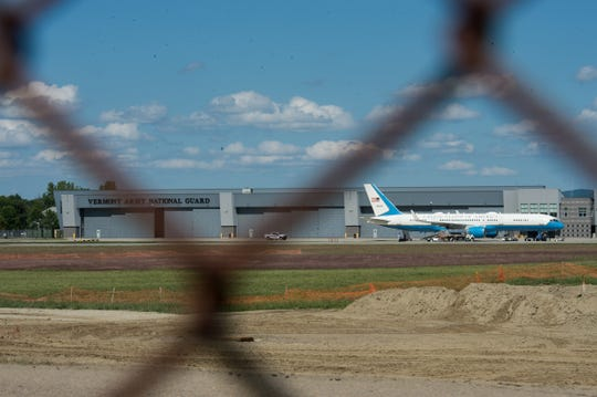 Air Force Two sits on the tarmac outside the Vermont National Guard hangar at the Burlington airport on Aug. 31 2018. Vice President Mike Pence landed shortly after 1:30 Friday afternoon, reportedly to spend the holiday weekend in Vermont.