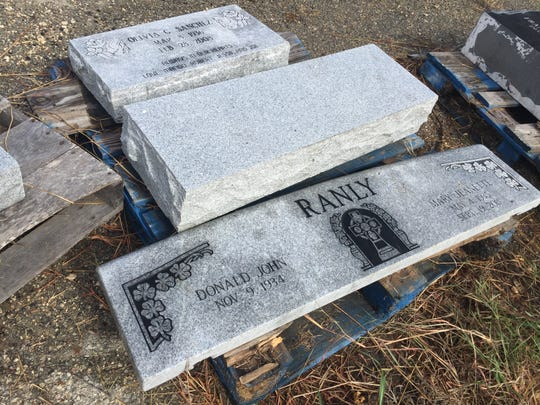 These are the last remaining tombstones that were confiscated during an investigation in 2015. They will be destroyed in a week unless the families come and get them.