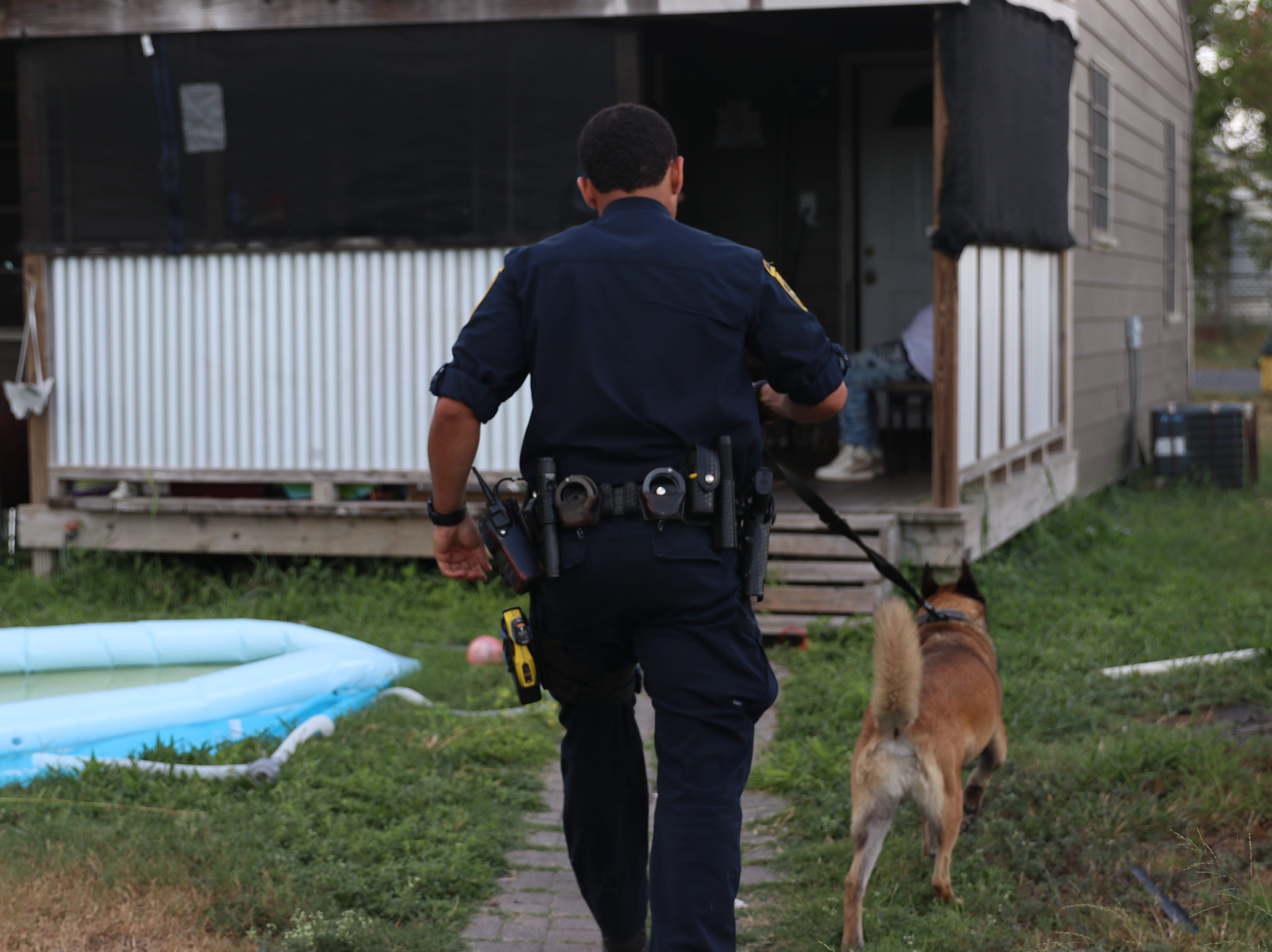 A K-9 unit going into the home of an individual who was arrested during a heroin-related warrant roundup.