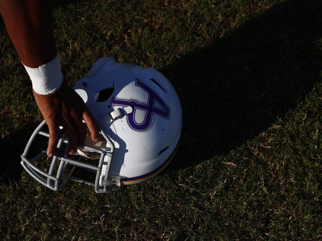 Aransas Pass Panthers get ready for their football season opener against the Rockport-Fulton Pirates at Bo Bonorden Stadium in Aransas Pass.