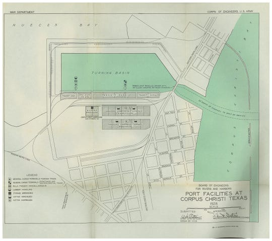 A  1928 map of the Port of  Corpus Christi.