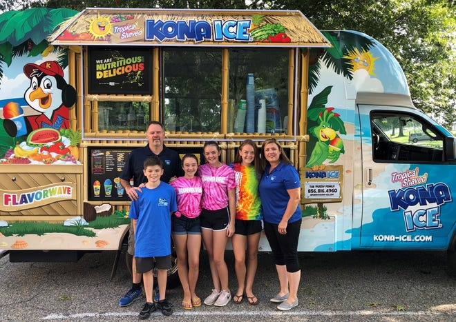 Ed and Sara Purdy of Haddonfield just launched their Kona Ice truck as a family business involving Edward, 11 (from left); Delaney, 13; Riley, 15; and Chloe, 16.