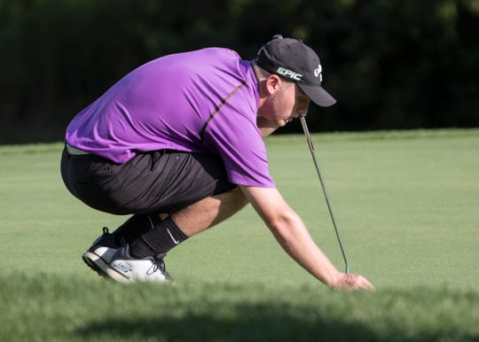 Unioto golfer Ty Schobelock prepares to putt during SVC No. 3 on Thursday, August 30, 2018 at Pickaway Country Club. Schobelock will continue his golfing career as he signed to golf at the University of Findlay on Thursday.