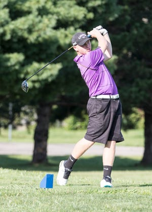 Unioto's Ty Schobelock drives a ball in an SVC match at Pickaway Country Club on Aug. 30, 2018. Schobelock earned the match medalist with a 65 at the Unioto Military Appreciation Invite on Saturday, one stroke off the tournament record of 64 set by Unioto's Nick Breeden in 2001.