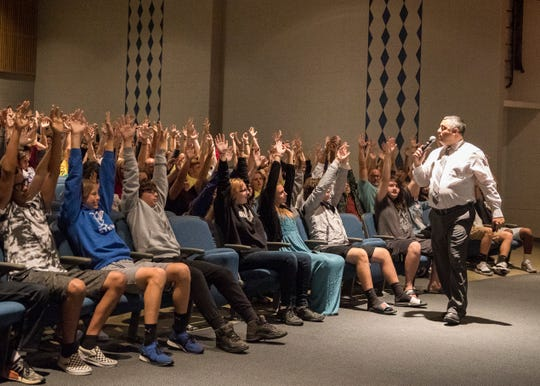Chillicothe High School principal Dustin Weaver asks the new incoming freshman to hold up their hands to illustrated what they can achieve as they enter high school with a completely clean slate and it is up to them how successful their path will be. Weaver wants both incoming and returning high school students aiming high as they return to classes this week.