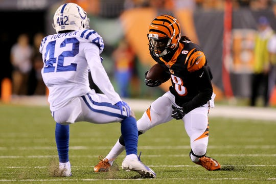 Cincinnati Bengals wide receiver Devonte Boyd (8) makes a move on Indianapolis Colts defensive back Henre' Toliver (42) in the second quarter during the Week 4 NFL preseason game between the Indianapolis Colts and the Cincinnati Bengals, Thursday, Aug. 30, 2018, at Paul Brown Stadium in Cincinnati.