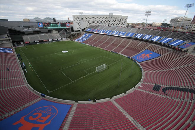 FC Cincinnati plans to install new turf at Nippert Stadium. Right now, the turf is comprised of six total pieces with removable end zones sections for football. The seams between the end zone and main field sections are visible and bumpy.