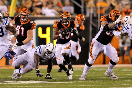 Cincinnati Bengals running back Brian Hill (23) carries the ball in the third quarter during the Week 4 NFL preseason game between the Indianapolis Colts and the Cincinnati Bengals, Thursday, Aug. 30, 2018, at Paul Brown Stadium in Cincinnati.