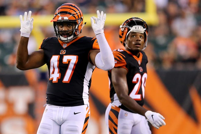 Cincinnati Bengals linebacker Chris Worley (47) reacts to a defensive stop in the second quarter during the Week 4 NFL preseason game between the Indianapolis Colts and the Cincinnati Bengals, Thursday, Aug. 30, 2018, at Paul Brown Stadium in Cincinnati.