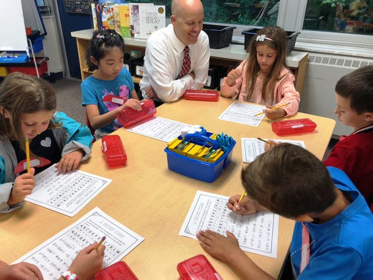 Indian Hill Schools students enjoy a classroom visit from their superintendent, Dr. Mark Miles