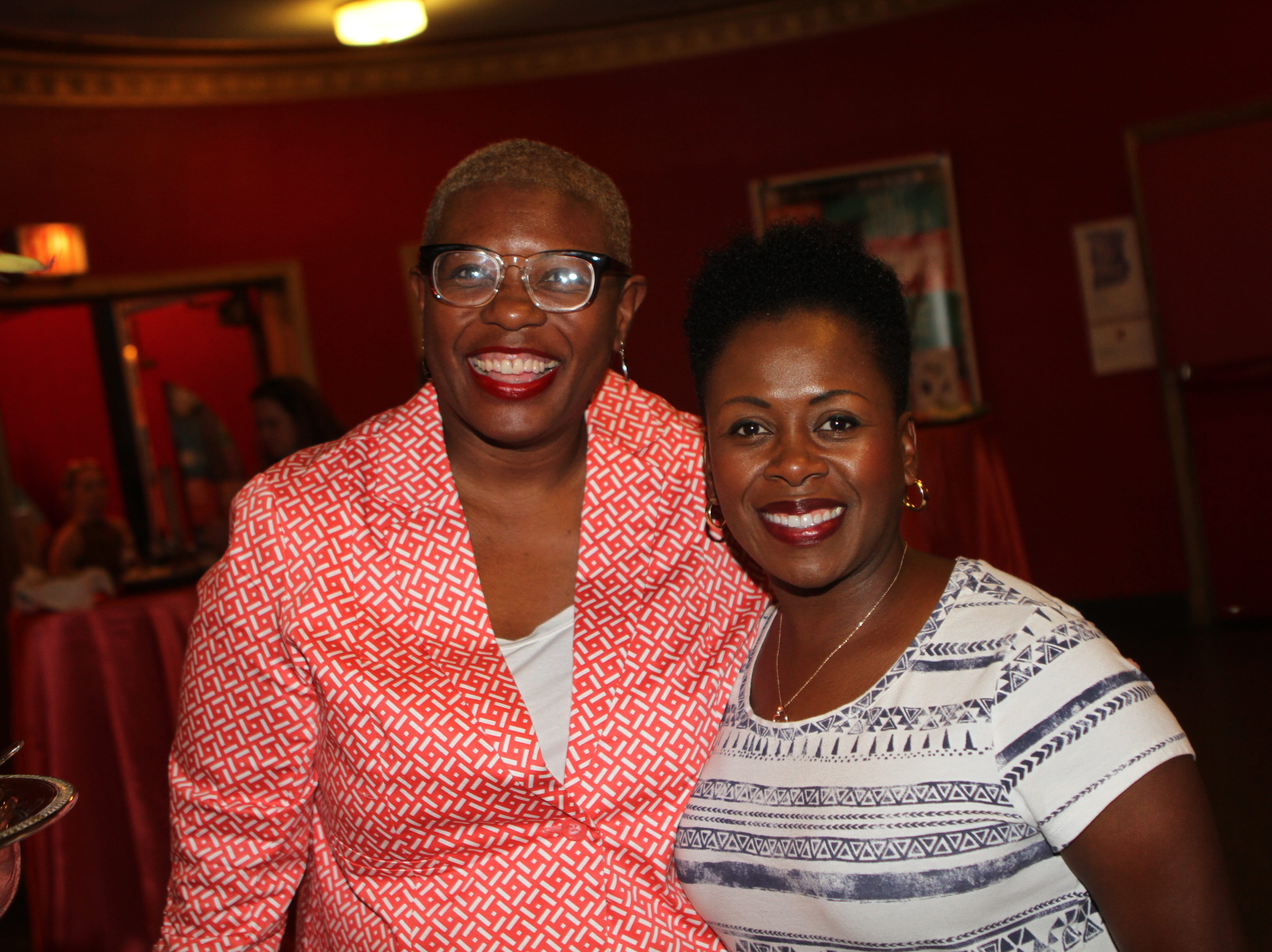 Rashidah Leverett and Kim Wiggins at the Roxy Regional Theatre for the United Way 2018 campaign fundraising event Thursday night.