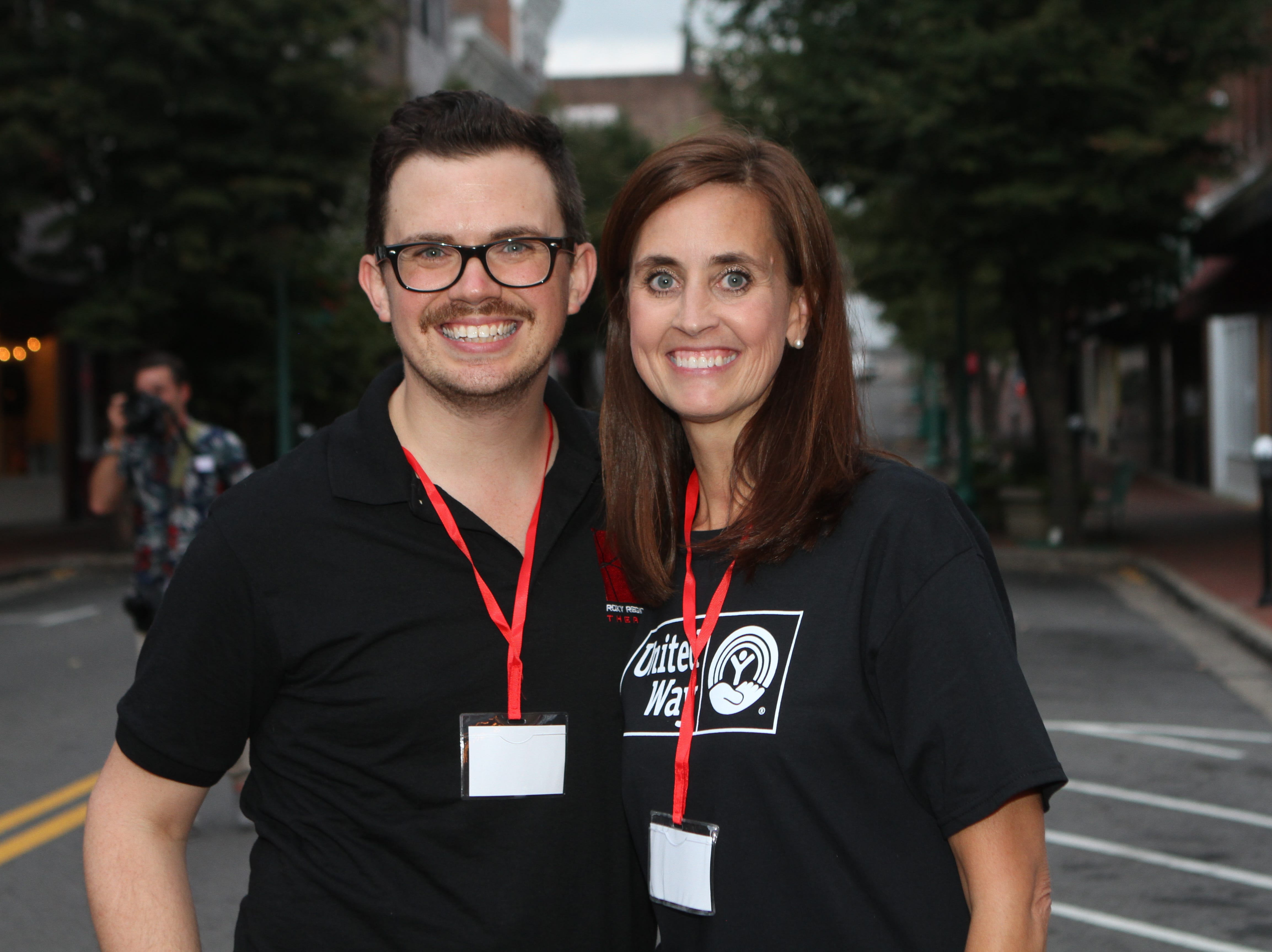Roxy Regional Theatre's Ryan Bowie and United Way's Ginna Holleman at the Roxy for the United Way 2018 campaign fundraising event Thursday night.