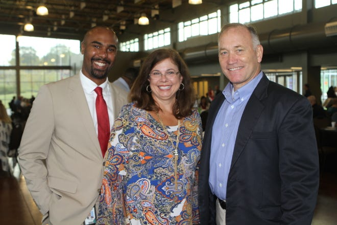Marlon Heaston, Sherry Baker, and Mike Taliento at Thursday's Partners in Education Appreciation breakfast at Wilma Rudolph Event Center.