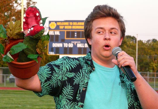 "Hunter Trstensky represents the Del Val Performing Arts Department at the rally, singing, ""Feed Me, Seymour!"" from ""Little Shop of Horrors."""