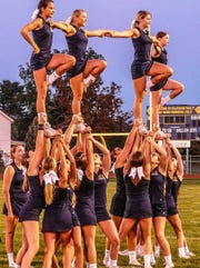 The Delaware Valley High School cheerleaders strike a pose at the pep rally, Aug. 30, which launched the fall sports season.