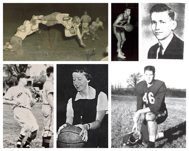 Star athletes of Frenchtown High School will be inducted into the Terrier Hall of Fame this year. They are (clockwise from top left) Nick Fleming, Willie Leonardi, Bob Hampton, Terry LaFevre, Kathleen Pegg, who was also a winning coach, and Dave Brown.