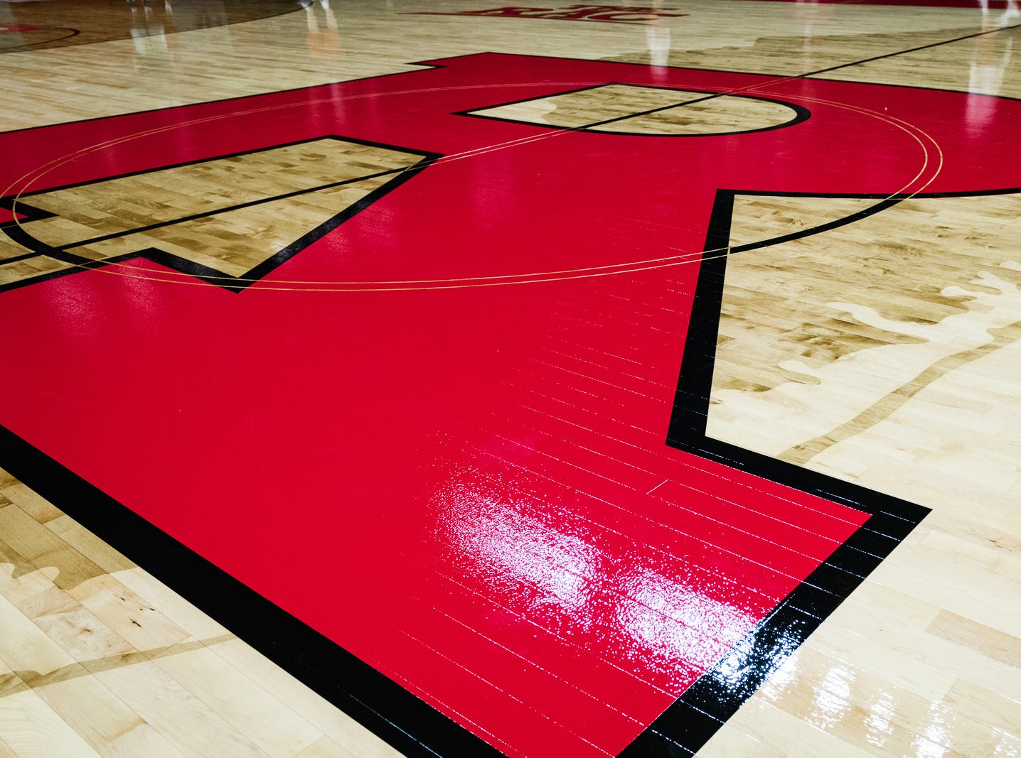 The new basketball court in Rutgers Athletic Center, Piscataway.