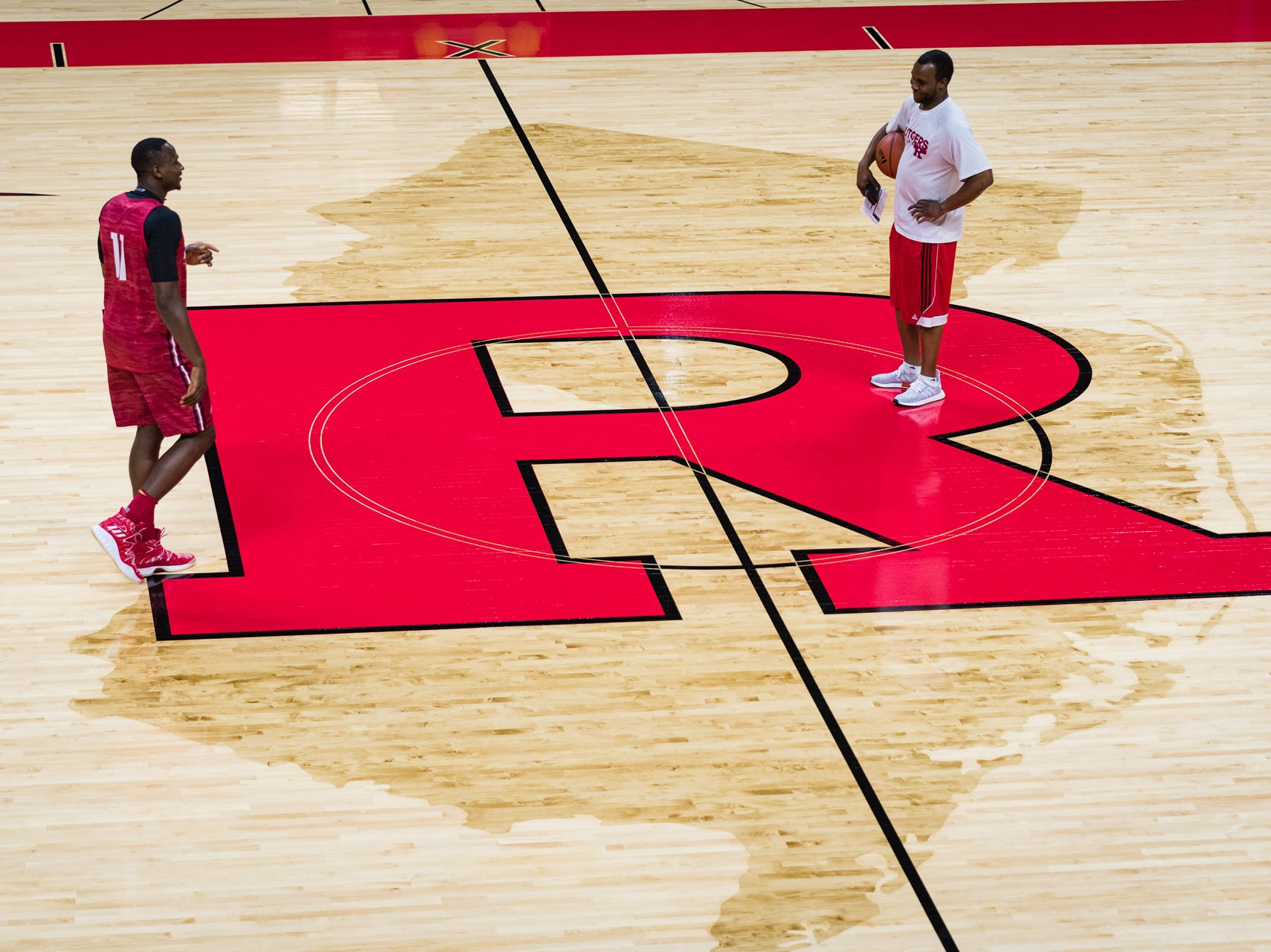 Rutgers Men's Basketball summer practice in preparation for the 2018-19 basketball season on the newly reconstructed basketball court.