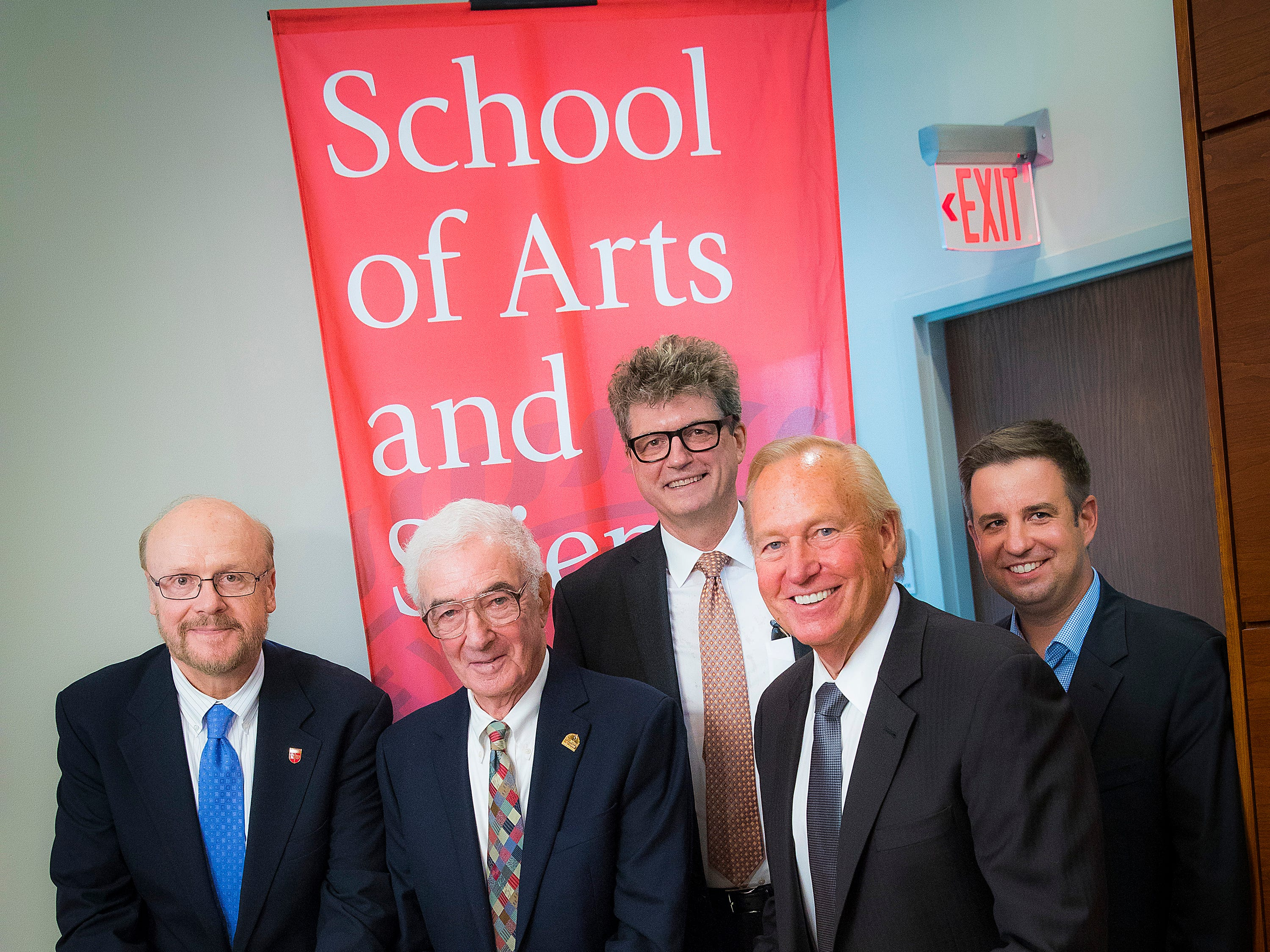 Rutgers and New Brunswick leaders and alums came together to celebrate the opening of an innovative research center by the School of Arts and Sciences in downtown New Brunswick. Pictured from left to right are Christopher Molloy, interim chancellor, Rutgers University–New Brunswick; Bart Klion, Rutgers Class of '48 President; Peter March, executive dean, School of Arts and Sciences;   Mayor James Cahill, and Roman Holowinsky, Rutgers Class of '01,  Graduate School-New Brunswick Class of '06, director, Erdos Institute, and co-founding chairman emeritus of The STEAM Factory.