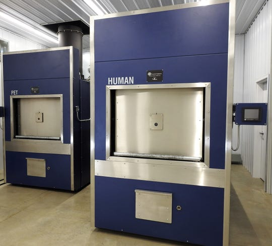 Machines used to cremate pets and humans at the new Miller-Kaser Cremation Services on Cedar Street.