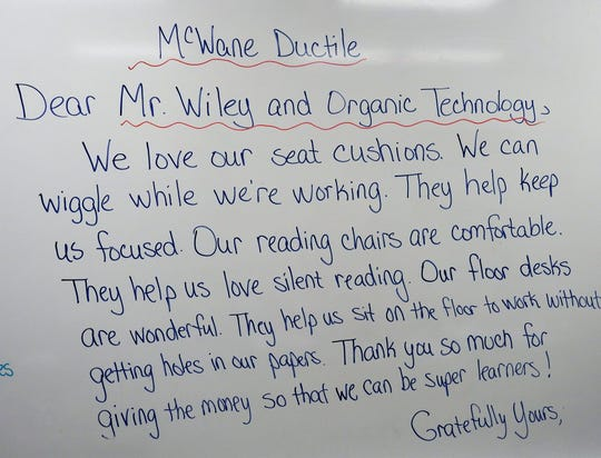 A thank-you letter students in Amy Unkefer's third grade class drafted to send to McWane Ductile and Organic Technologies for their donations.
