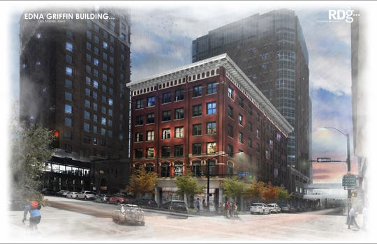 The Edna M. Griffin Building, 319 Seventh St., will be renovated to include street-level retail spaces with offices and apartments on upper floors.