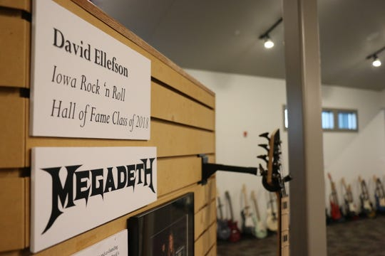 A display for David Ellefson, bassist for Megadeth, inside the Iowa Rock 'n' Roll Music Association Hall of Fame. The hall, located in Arnolds Park, inducts about 30 artists, groups or organizations annually.