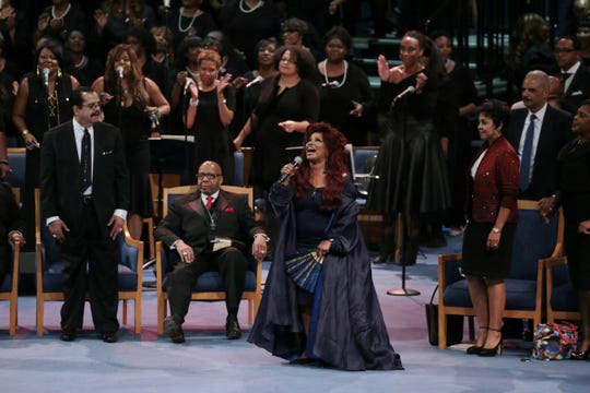 Chaka Khan gives a musical tribute Grace Temple in Detroit during the funeral for the late Aretha Franklin at Greater on Friday, August 31, 2018.