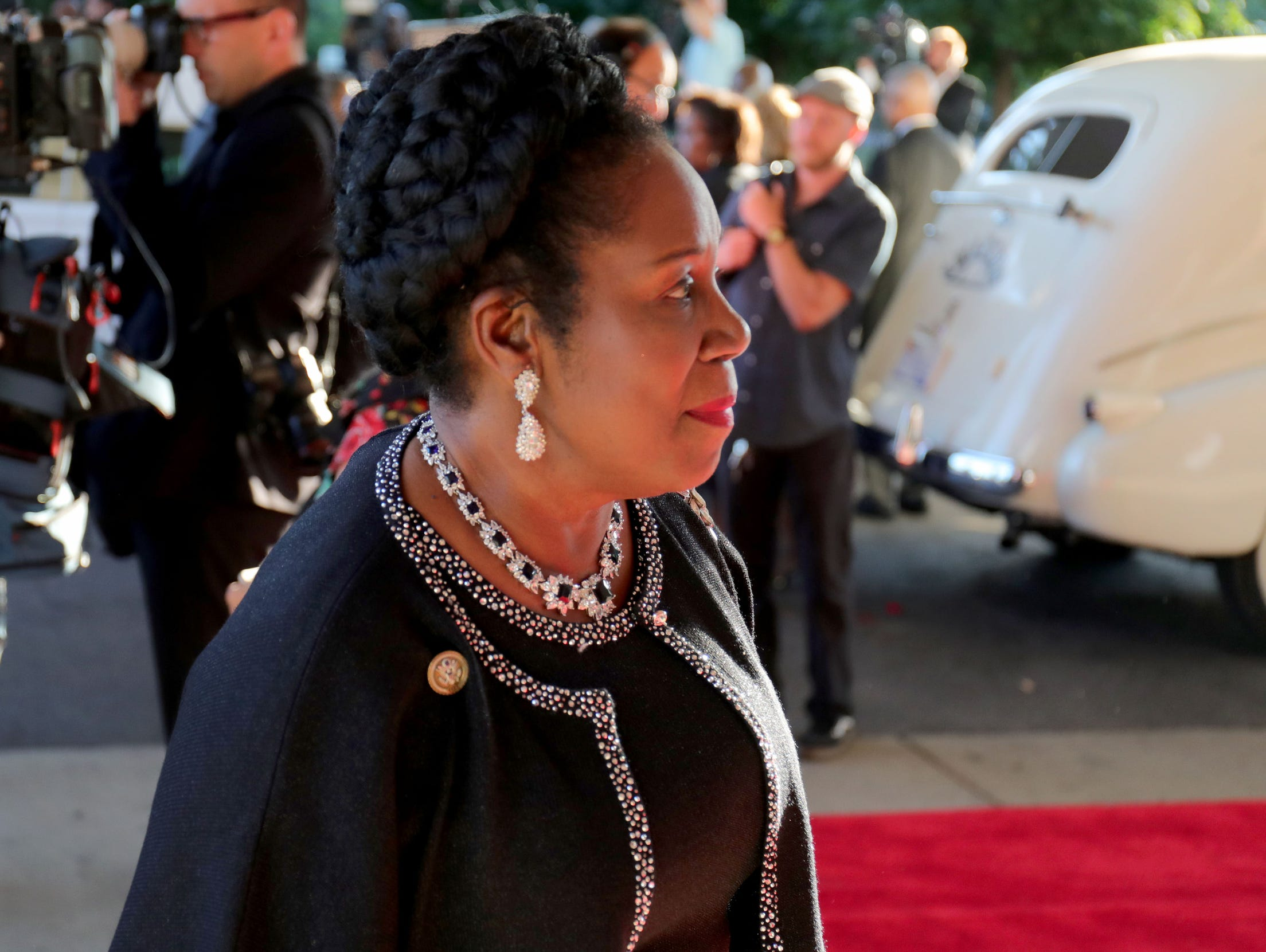 Congresswoman Sheila Jackson Lee arrives at Greater Grace Temple in Detroit to say their final goodbye to Aretha Franklin, Friday, August 31, 2018.