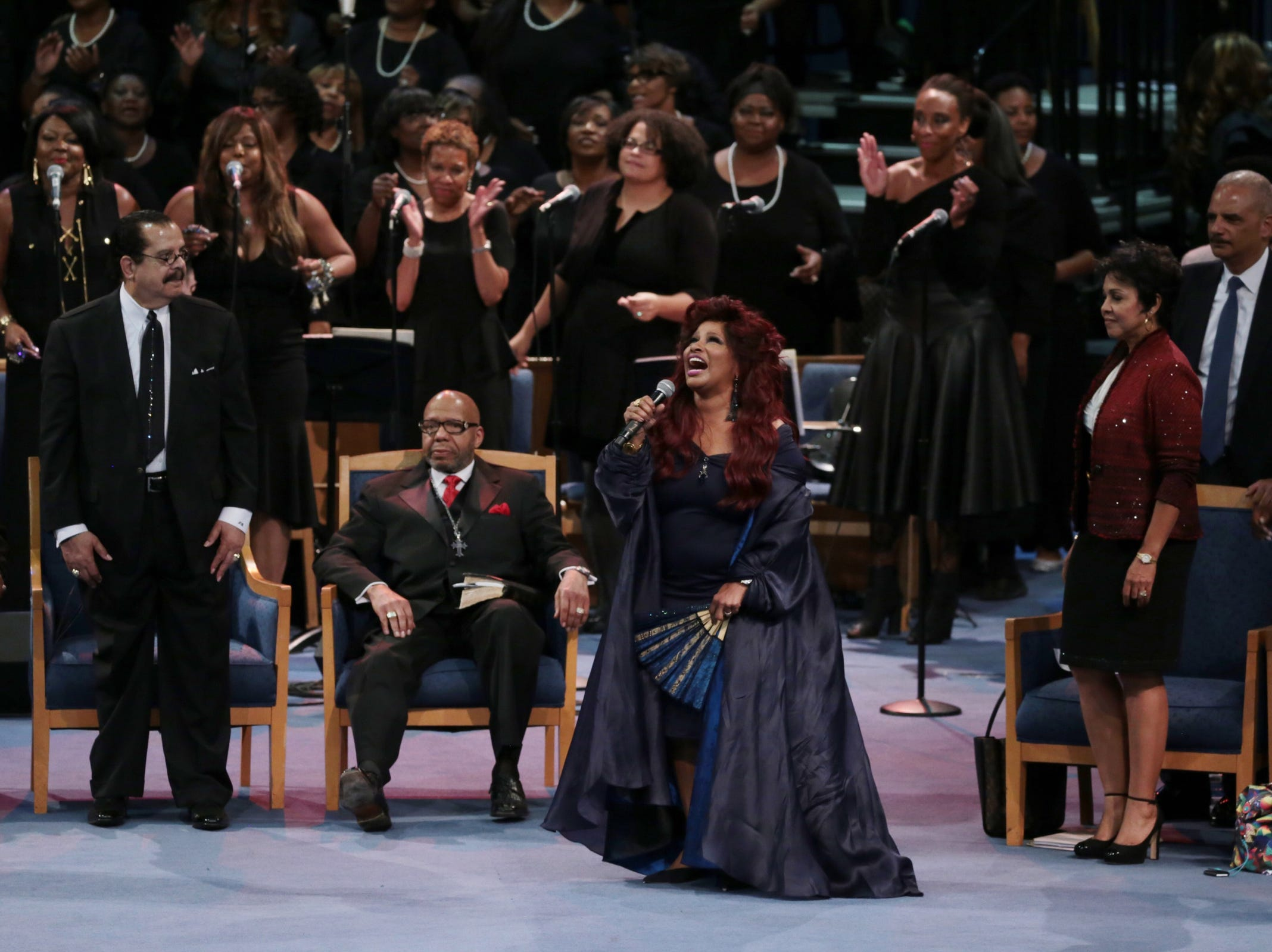 Chaka Khan performs a musical tribute during the funeral for the late Aretha Franklin at Greater Grace Temple in Detroit on Friday, August 31, 2018.
